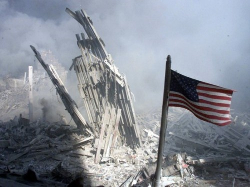 Am American flag flies near the base of the destroyed World Trade Center in New York, September 11, ..